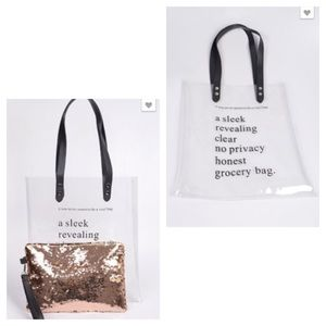 Handbags - Clear PVC Bag with Gold Sequin Pouch